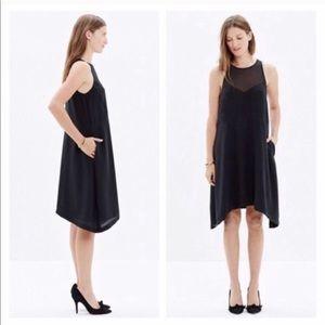 Madewell Black Silk Parkview Dress